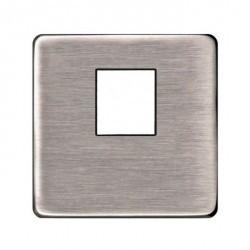 Накладка на мультимедийную розетку Fede, nickel satin/черный, FD04317NS-M