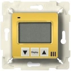 Термостат для теплого пола Fede FEDE МЕХАНИЗМЫ И НАКЛАДКИ, с дисплеем, с датчиком, bright gold/бежевый, FD18000OB-A