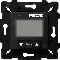 Термостат для теплого пола Fede МЕХАНИЗМЫ, с дисплеем, с датчиком, черный, FD18000-M