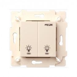 Выключатель сенсорный 2-клавишный Fede Коллекции FEDE,бежевый, FD28602-A