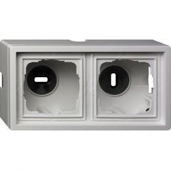 F100 Рамка для открытого монтажа двойная, глянцевый белый