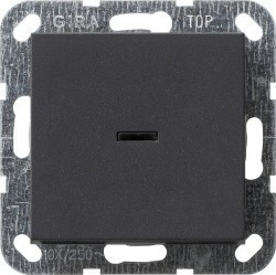 Выключатель 1-клавишный двухполюсный Gira SYSTEM 55, скрытый монтаж, антрацит, 012228