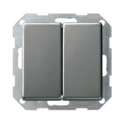 Переключатель 1-клавишный кнопочный Gira E22, скрытый монтаж, стальной, 013020