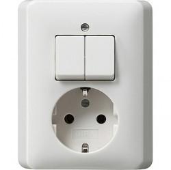 Выключатель 2-клавишный Gira STANDARD 55, скрытый монтаж, белый глянцевый, 017503