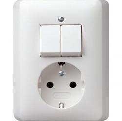 Выключатель 2-клавишный Gira STANDARD 55, скрытый монтаж, белый глянцевый, 017504