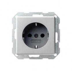Розетка Gira SYSTEM 55, скрытый монтаж, с заземлением, алюминий, 018826