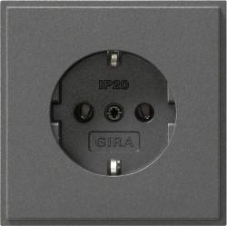 Розетка Gira TX 44, скрытый монтаж, с заземлением, черный, 018867