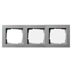 Рамка 3 поста Gira E2, алюминий, 021325