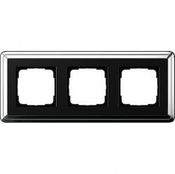 Рамка 3 поста Gira CLASSIX, хром, 0213642