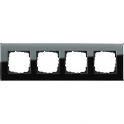 Рамка 4 поста Gira ESPRIT, черное стекло, 0214505