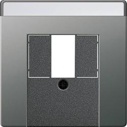 Накладка на розетку информационную Gira E22, нержавеющая сталь, 027620