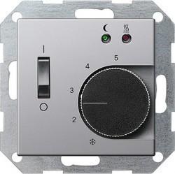 Термостат для теплого пола Gira E22, с датчиком, алюминий, 0394203