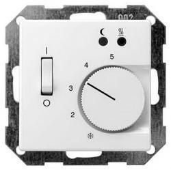 Термостат для теплого пола Gira SYSTEM 55, с датчиком, белый матовый, 039427