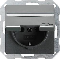 Розетка Gira E22, скрытый монтаж, с заземлением, с крышкой, стальной, 041020