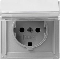 Розетка Gira TX 44, скрытый монтаж, с заземлением, с крышкой, алюминий, 041065