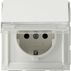 Розетка Gira TX 44, скрытый монтаж, с заземлением, с крышкой, белый, 041066