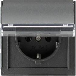 Розетка Gira TX 44, скрытый монтаж, с заземлением, с крышкой, антрацит, 041067