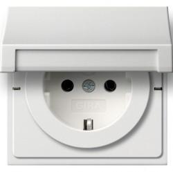 Розетка Gira F100, скрытый монтаж, с заземлением, с крышкой, со шторками, белый глянцевый, 0414112