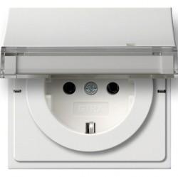 Розетка Gira F100, скрытый монтаж, с заземлением, с крышкой, белый глянцевый, 0439112