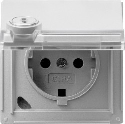 Розетка Gira TX 44, скрытый монтаж, с заземлением, с крышкой, алюминий, 044765