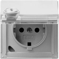 Розетка Gira TX 44, скрытый монтаж, с заземлением, с крышкой, алюминий, 044965