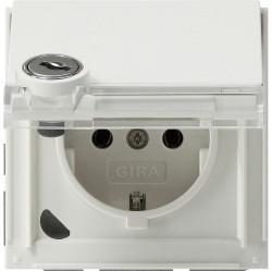 Розетка Gira TX 44, скрытый монтаж, с заземлением, с крышкой, белый, 044966