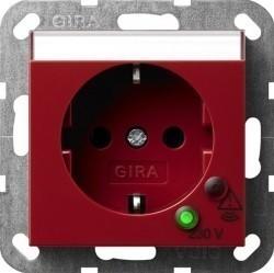 Розетка Gira SYSTEM 55, скрытый монтаж, с заземлением, красный, 045102