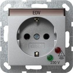 Розетка Gira SYSTEM 55, скрытый монтаж, с заземлением, алюминий, 045126