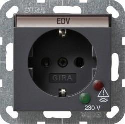 Розетка Gira SYSTEM 55, скрытый монтаж, с заземлением, антрацит, 045128