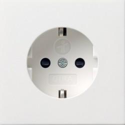 Розетка Gira F100, скрытый монтаж, с заземлением, со шторками, белый глянцевый, 0453112
