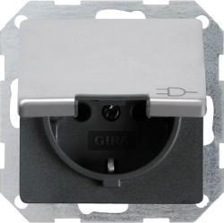 Розетка Gira E22, скрытый монтаж, с заземлением, с крышкой, алюминий, 0454203