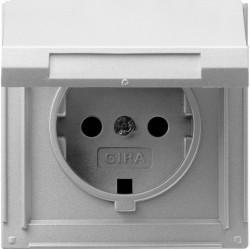 Розетка Gira TX 44, скрытый монтаж, с заземлением, с крышкой, алюминий