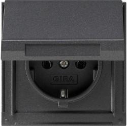 Розетка Gira TX 44, скрытый монтаж, с заземлением, с крышкой, антрацит, 045467
