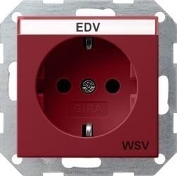 Розетка Gira SYSTEM 55, скрытый монтаж, с заземлением, красный, 047402
