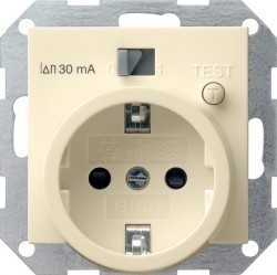 Розетка Gira SYSTEM 55, скрытый монтаж, с заземлением, кремовый глянцевый, 047701