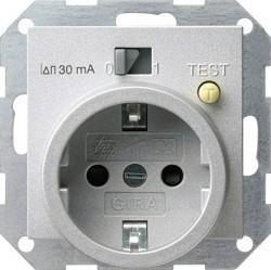 Розетка Gira SYSTEM 55, скрытый монтаж, с заземлением, алюминий, 047726