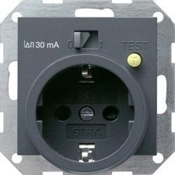 Розетка Gira SYSTEM 55, скрытый монтаж, с заземлением, антрацит, 047728