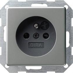Розетка Gira E22, скрытый монтаж, с заземлением, со шторками, стальной, 048520