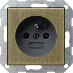 Розетка Gira SYSTEM 55, скрытый монтаж, с заземлением, со шторками, золотой, 0485603