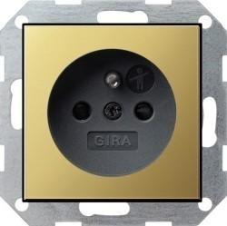 Розетка Gira SYSTEM 55, скрытый монтаж, с заземлением, со шторками, латунь, 0485604