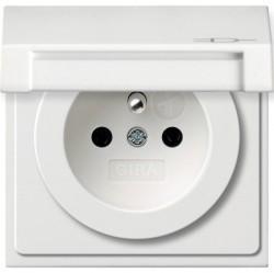 Розетка Gira F100, скрытый монтаж, с заземлением, с крышкой, белый глянцевый, 0488112