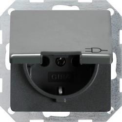 Розетка Gira EDELSTAHL, скрытый монтаж, с заземлением, с крышкой, со шторками, стальной, 048820