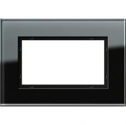 Рамка 1,5 поста без перегородки Gira ESPRIT, черное стекло, 100105