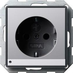 Розетка Gira E22, скрытый монтаж, с заземлением, алюминий, 1170203