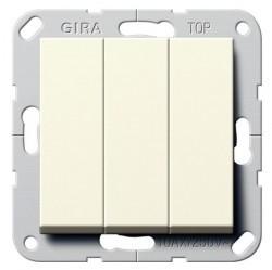 Выключатель 3-клавишный Gira SYSTEM 55, скрытый монтаж, кремовый глянцевый, 283001