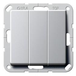 Выключатель 3-клавишный Gira E22, скрытый монтаж, алюминий, 2830203