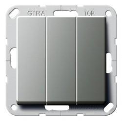 Выключатель 3-клавишный Gira E22, скрытый монтаж, стальной, 283020