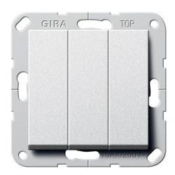 Выключатель 3-клавишный Gira SYSTEM 55, скрытый монтаж, алюминий, 283026