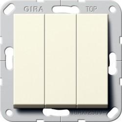 Переключатель 3-клавишный Gira SYSTEM 55, скрытый монтаж, кремовый глянцевый, 283201