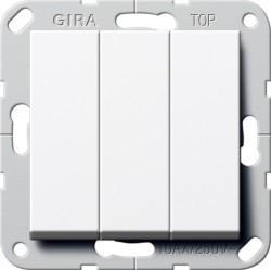 Переключатель 3-клавишный Gira SYSTEM 55, скрытый монтаж, белый глянцевый, 283203